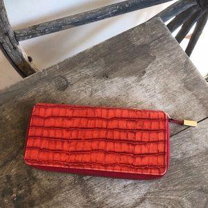 ABAS Crocodile Leather Zip Clutch Organize Wallet